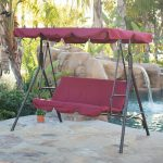 3 Person Patio Swing Canopy Awning Hammock Steel- Burgundy