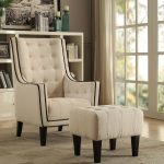 cream 2pc chair and ottoman, living room