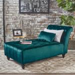 Velvet Chaise Lounge Chair Wide Sofa Green Bedroom Loveseat Living Room Hall New 1
