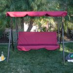 3 Person Patio Swing Canopy Awning Hammock Steel- Burgundy 1