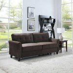 Classic Ultra Comfortable Brush Microfiber Fabric Living Room Sofa (Brown)