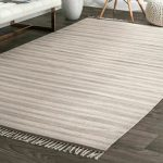 nuLOOM Contemporary Modern Striped Cotton Flatweave Area Rug in Beige, Ivory